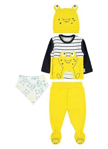 Albimini Albimini Erkek Bebek 4'Lü Zıbın Takımı Sarı